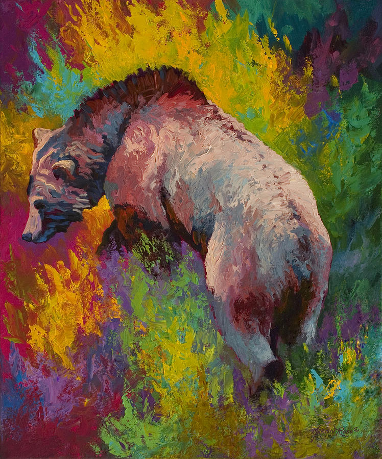 Western Painting - Climbing The Bank - Grizzly Bear by Marion Rose