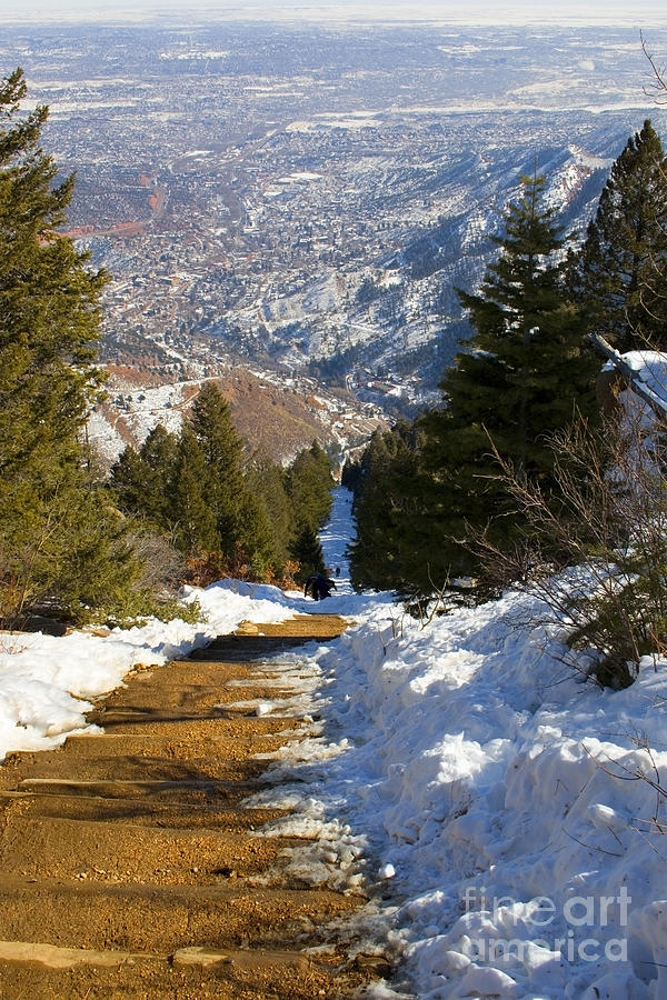 Climbing The Manitou Incline In Wintertime Photograph