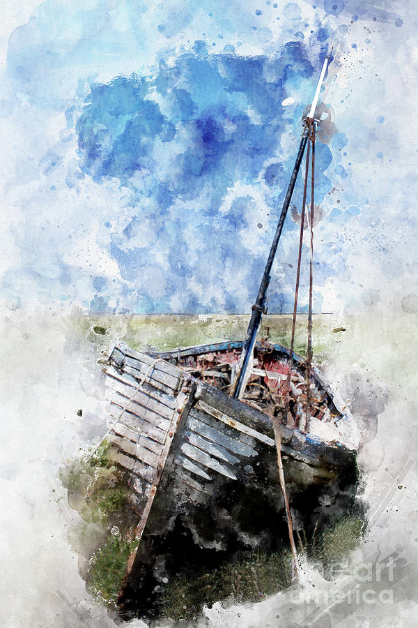 Pictures Of Clinker Brick And Lava Rock Houses: Clinker Built Boat Watercolour Digital Art By John Edwards