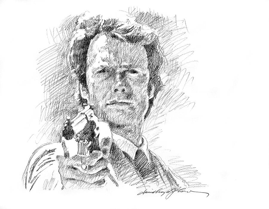 Clint Eastwood Drawing - Clint Eastwood As Callahan by David Lloyd Glover