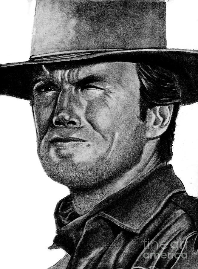 Clint Drawing - Clint Eastwood by Bill Richards