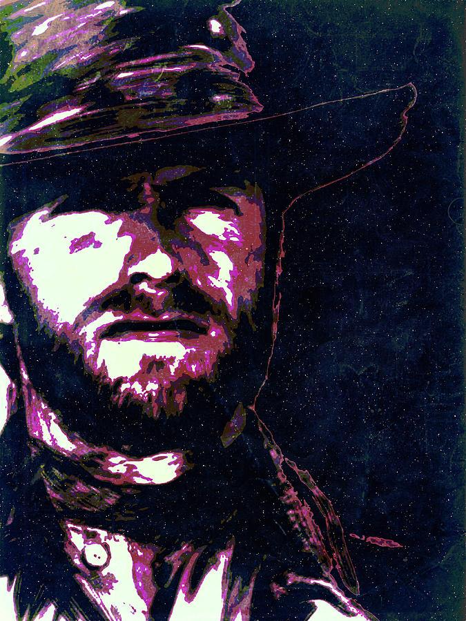 Clint Eastwood Digital Art - Clint Eastwood portrait poster retro print wall decor by IamLoudness Studio