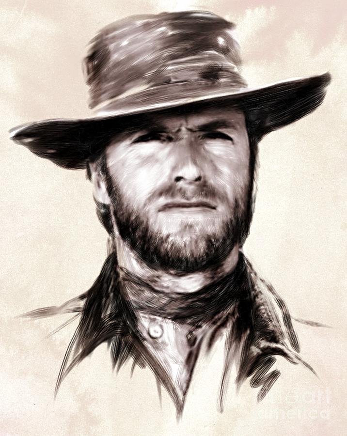 Clint Eastwood Painting - Clint Eastwood Portrait by Wu Wei
