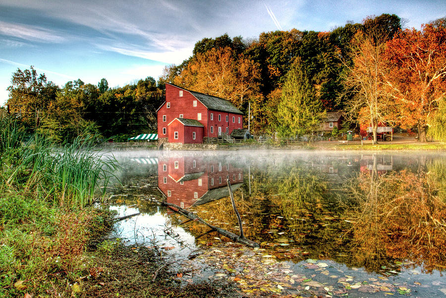 Clintons Red Mill Autumn Fog Scenic Photograph
