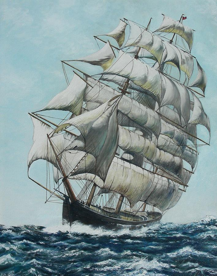 Seascape Painting - Clipper Ship Flying Cloud by Michael Winston
