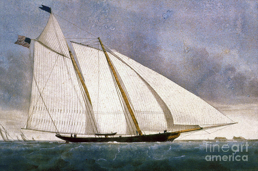 America Photograph - Clipper Yacht America by Granger