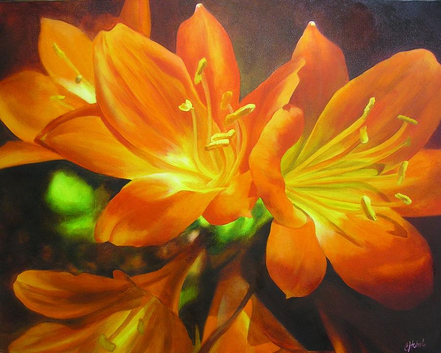 Clivias Painting - Clivias by Chris Hobel