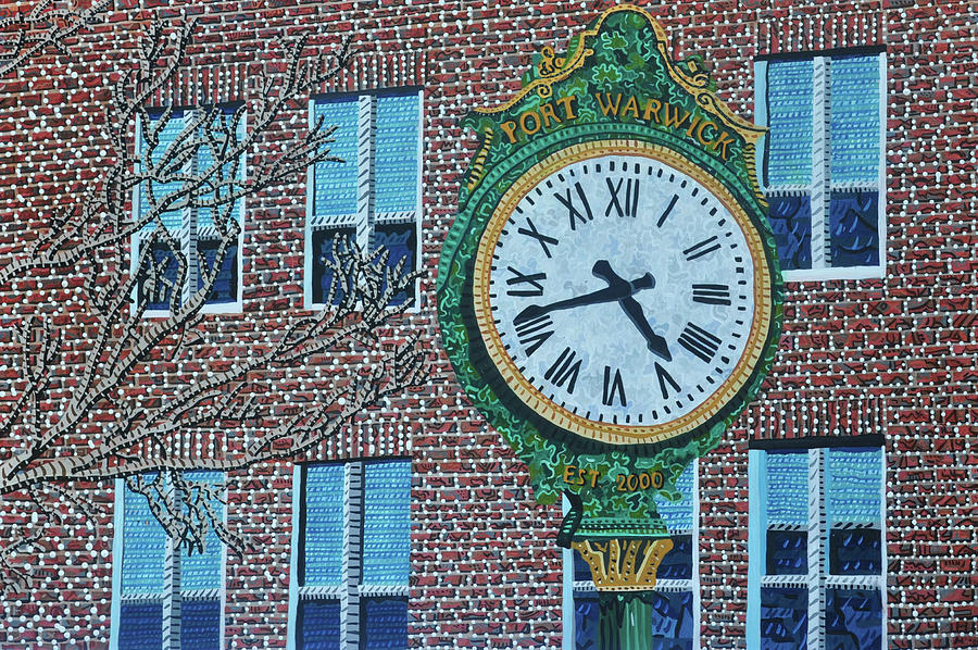 Clock Painting - Clock At Port Warwick by Micah Mullen