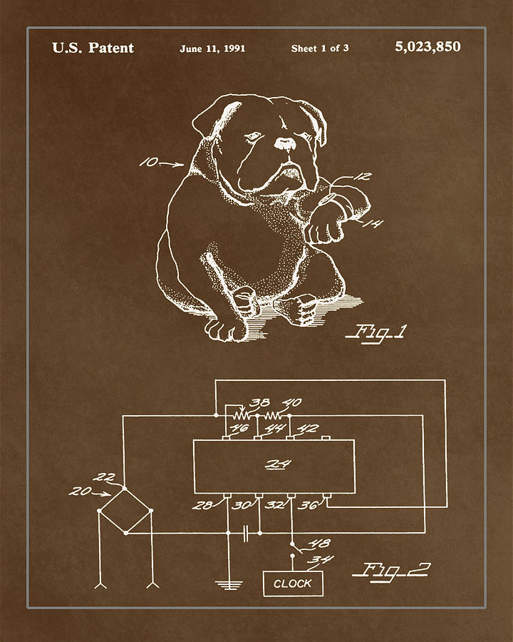 Patent Mixed Media - Clock For Keeping Animal Time Patent Drawing 1c by Brian Reaves