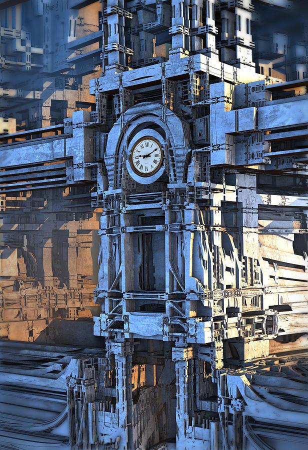 Clock Tower Digital Art by Hal Tenny