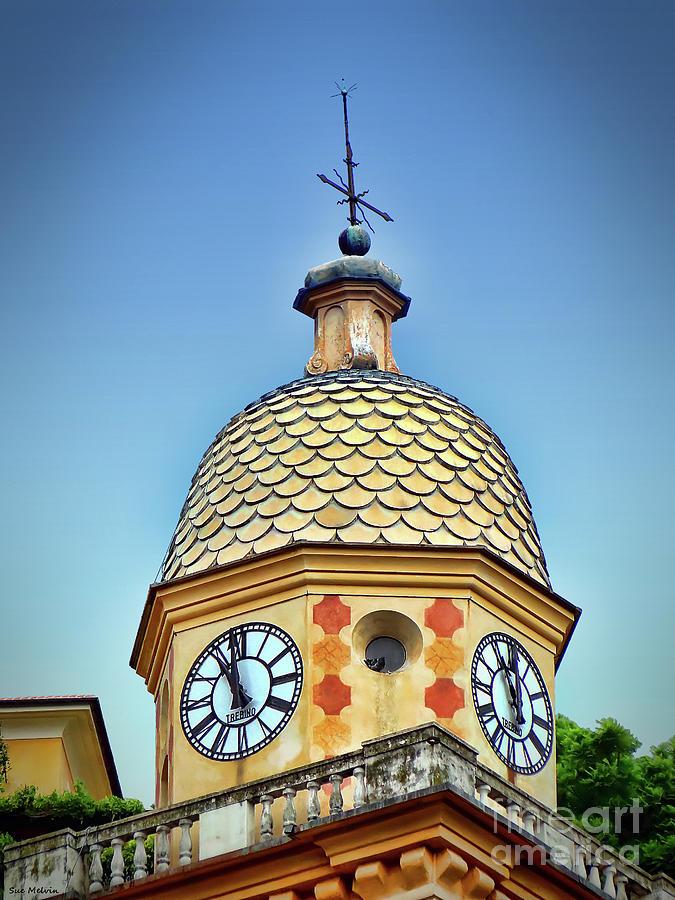 Italy Photograph - Clock Tower Of Portofino by Sue Melvin