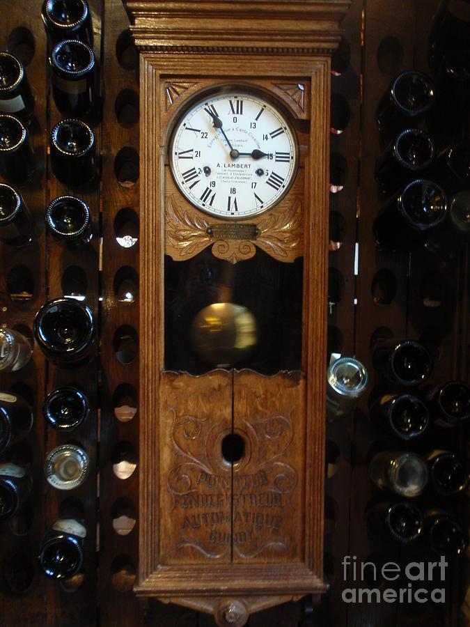 Wine Photograph - Clock Wine Rack by Valia Bradshaw