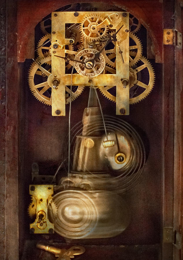 Suburbanscenes Photograph - Clockmaker - The Mechanism  by Mike Savad