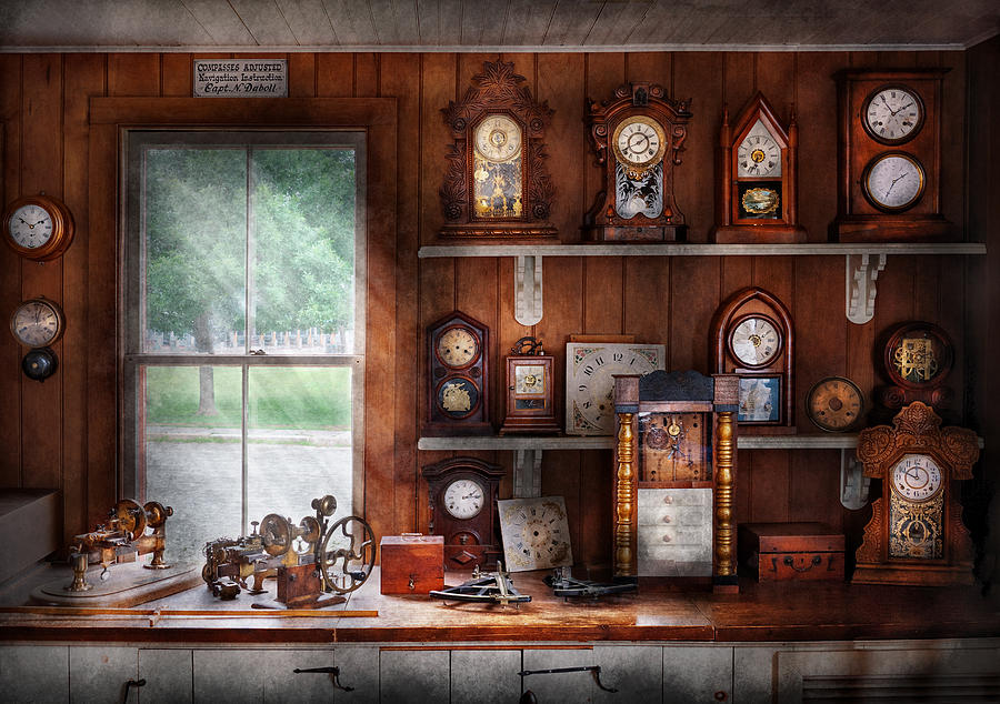 Framed Photograph - Clocksmith - In The Clock Repair Shop by Mike Savad