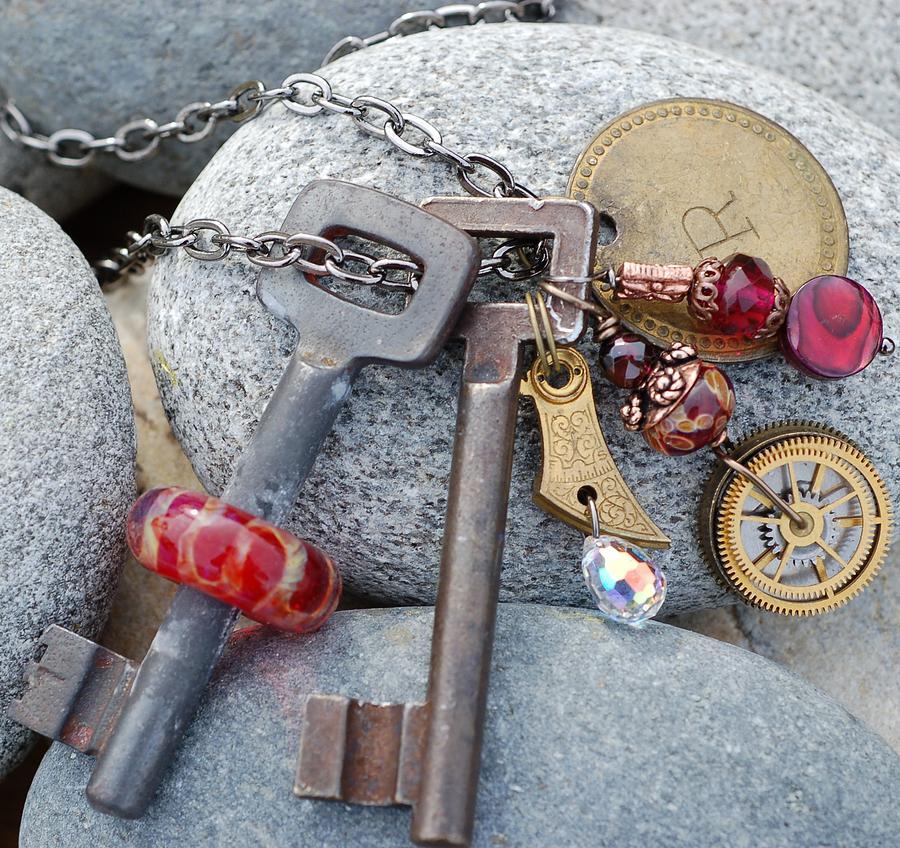 Skeleton Key Glass Art - Clockwork Red Vintage Skeleton Key With Boro Glass Bead Pendant by Paula McDonough