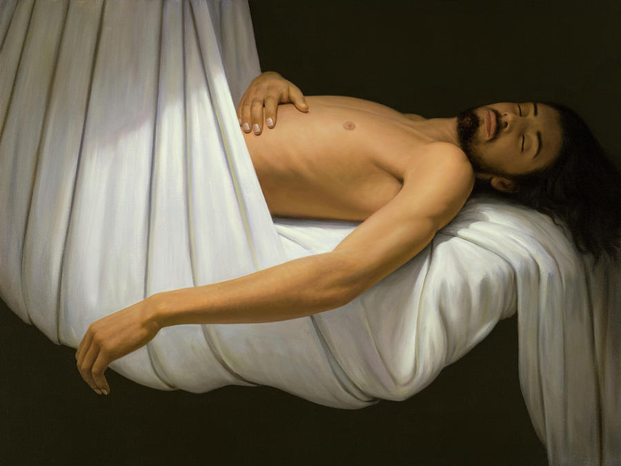Man Painting - Man Sleeps Draped in a White Sheet by Brian McCarthy