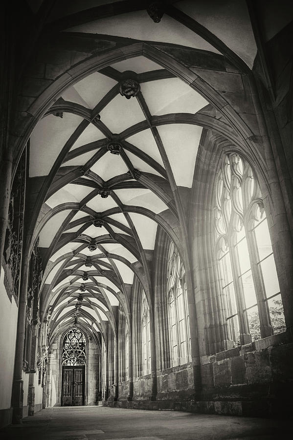Basel Photograph - Cloisters Of Basel Munster Switzerland In Black And White  by Carol Japp