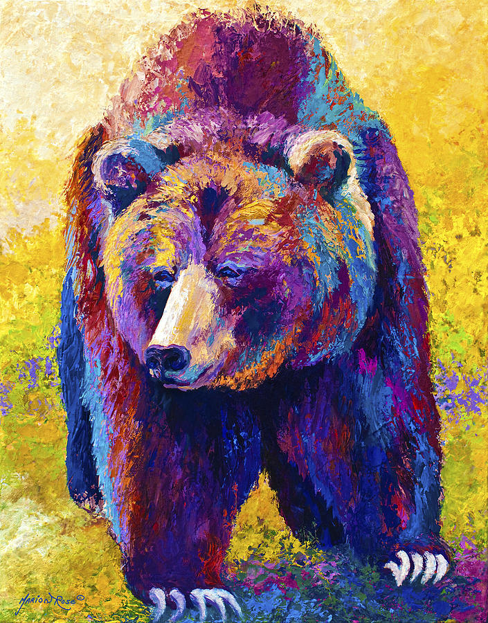 Western Painting - Close Encounter - Grizzly Bear by Marion Rose