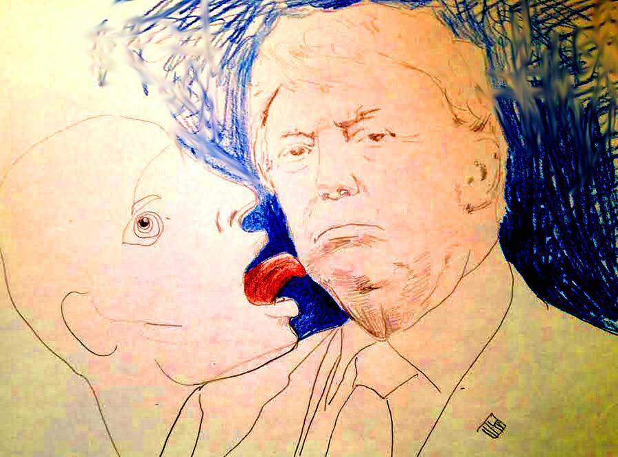 Trump Drawing - Close Encounter  by Bert Eelen