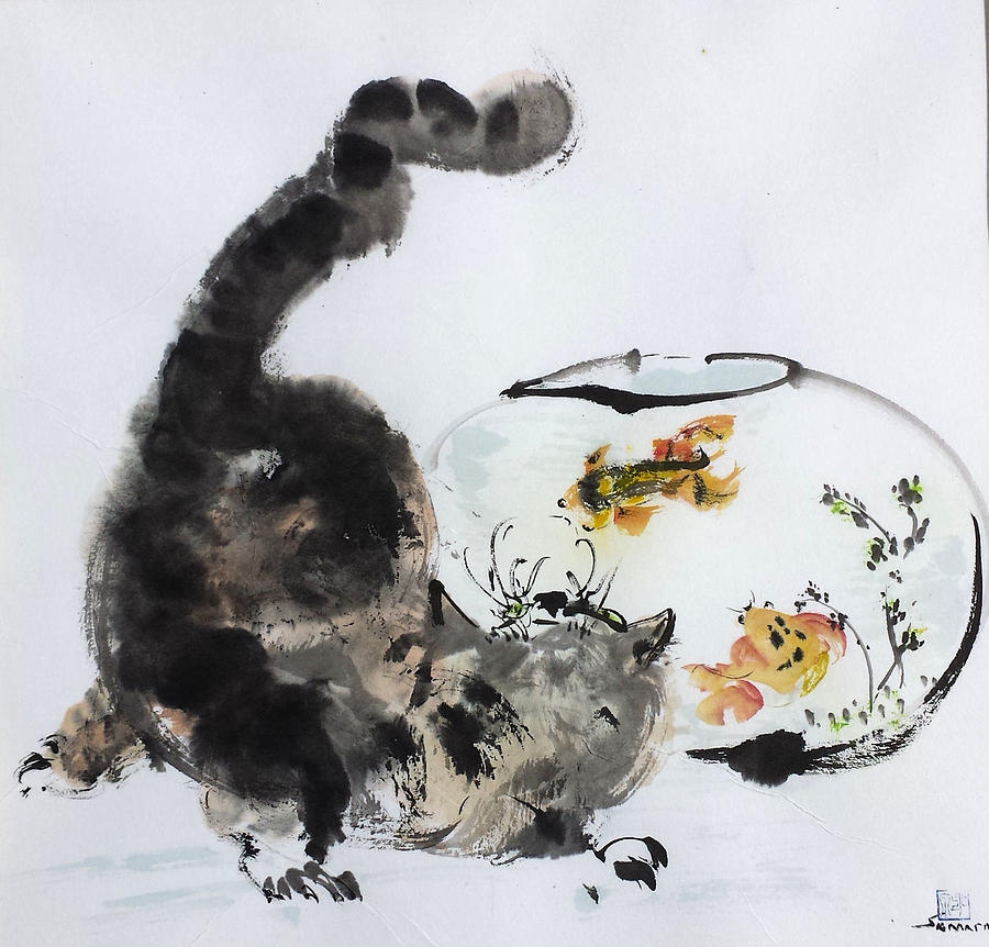 Cats Painting - Close Encounter by Laurie Samara-Schlageter