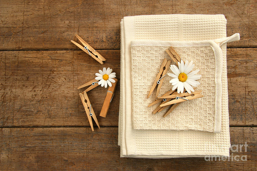 Clip Photograph - Close-pins And Dish Towels On Old Table  by Sandra Cunningham