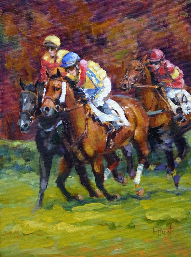 Oil Paintings Painting - Close Race by Elaine Hurst