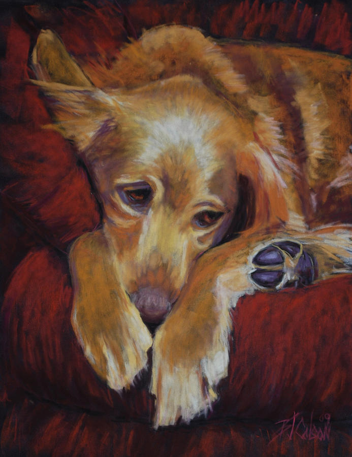Sleeping Dog Painting - Close To Dreamland by Billie Colson
