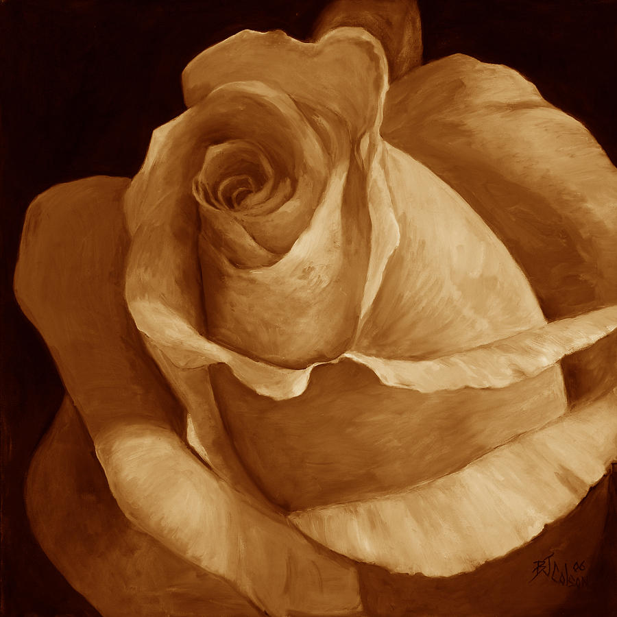 Rose Painting - Close To Perfection Sepia by Billie Colson