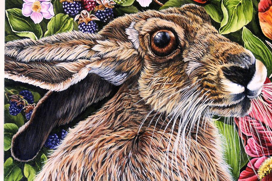 Hare Painting - Close Up Detail From Painting Celibration by Donald Dean