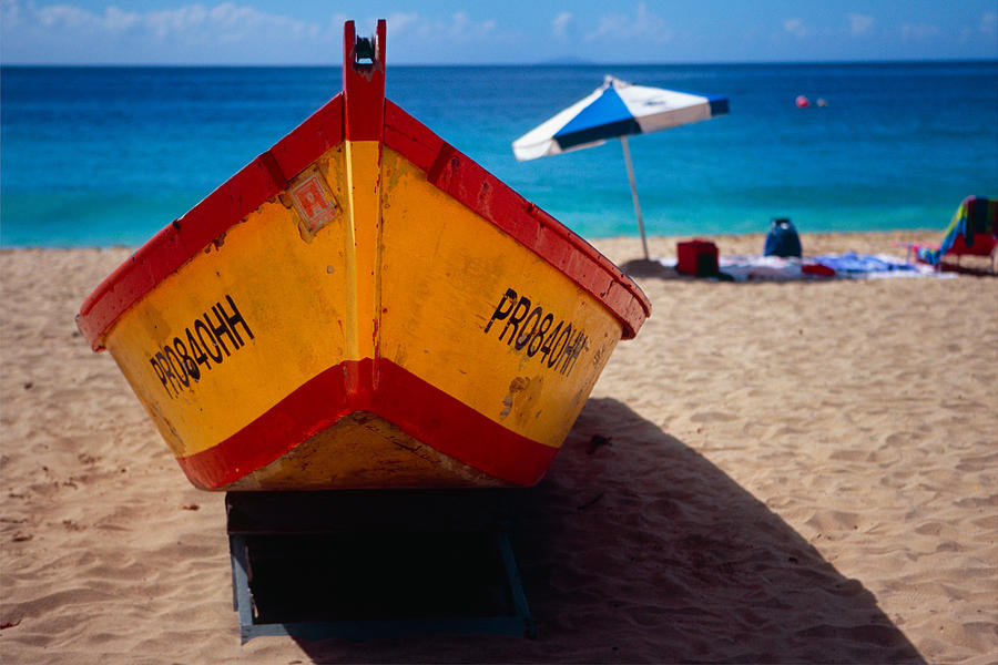 Aguadilla Photograph - Close Up Frontal View Of A Colorful Boat On A Caribbean Beach by George Oze