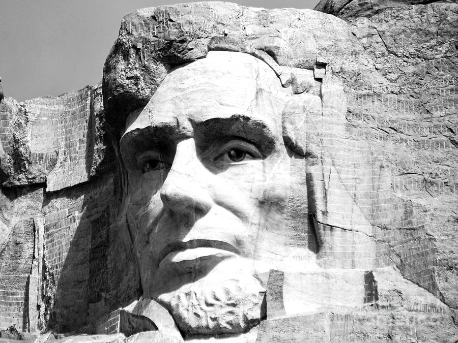 Mount Rushmore Photograph - Close Up Of President Abraham Lincoln On Mount Rushmore South Dakota Black And White by Shawn OBrien