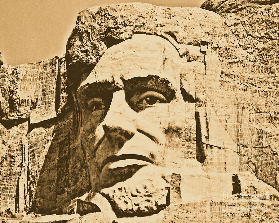 Mount Rushmore Photograph - Close Up Of President Abraham Lincoln On Mount Rushmore South Dakota Rustic Digital Art by Shawn OBrien