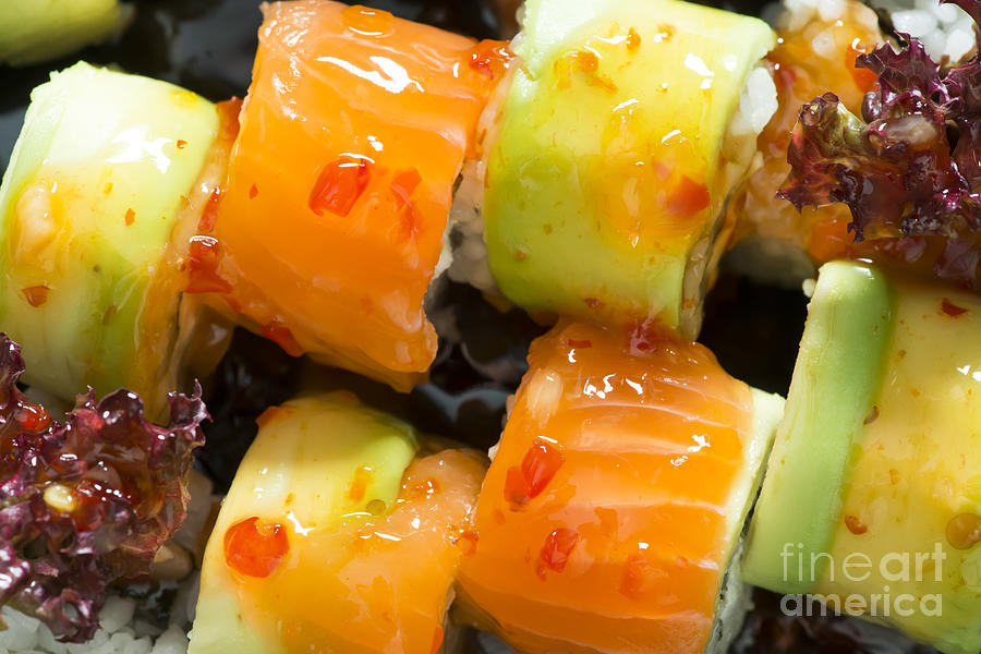 Asia Photograph - Close Up Sushi In Plate by Deyan Georgiev