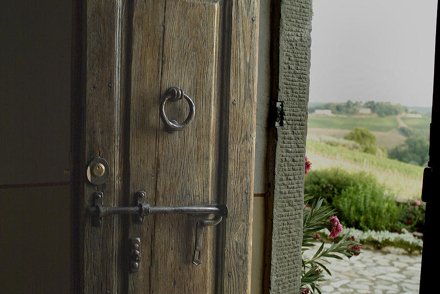 Doors Photograph - Close View Of A Wooden Door On A Villa by Todd Gipstein