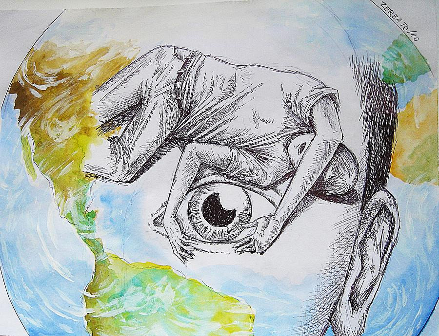 Planet Painting - Close Your Eyes To The Problems by Paulo Zerbato