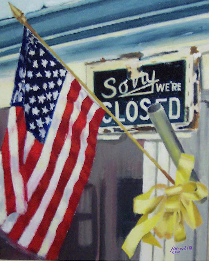 Flag Painting - Closed For Business by Joe White