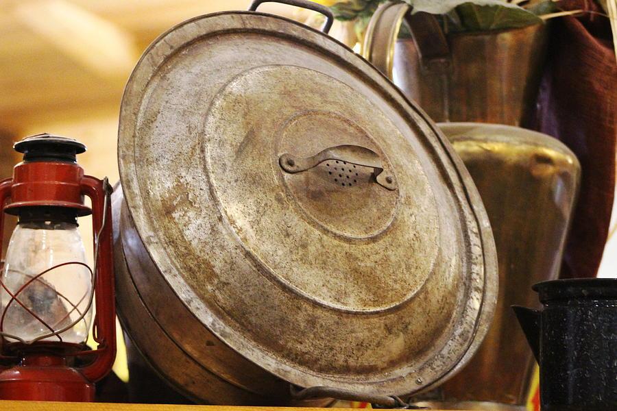 Hurricane Lamp Photograph - Closeup of Antique Pot and Hurricane Lantern by Colleen Cornelius