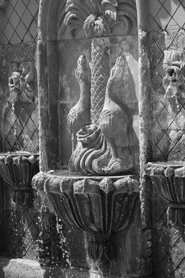 Terracotta Photograph - Closeup of Terracotta Water Fountain In Black and White La Quinta Art District by Colleen Cornelius