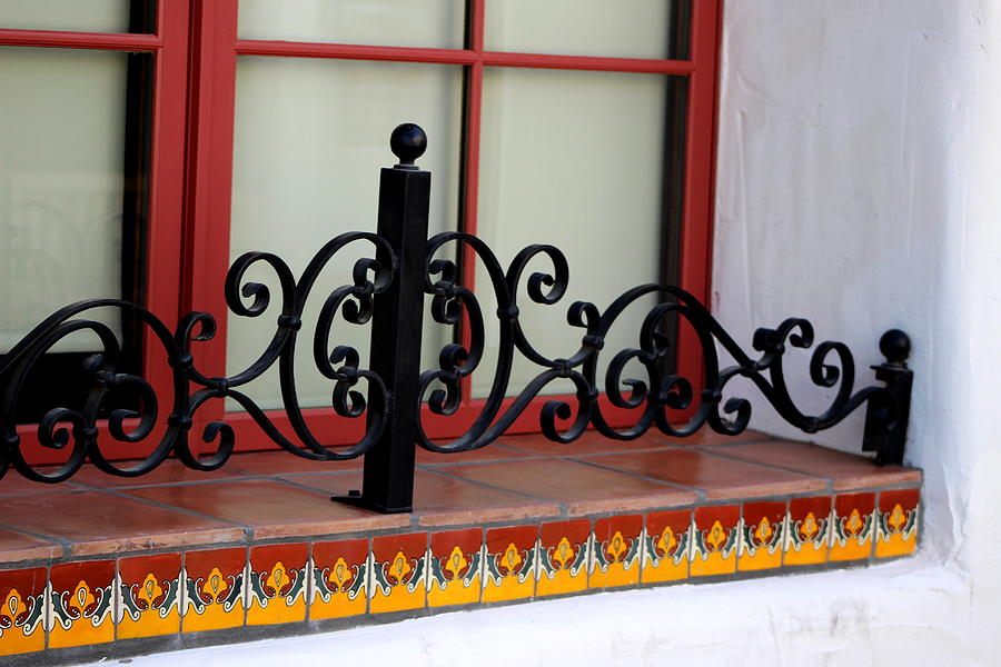 Window Photograph - Closeup Of Window Decorated With Terracotta Tiles And Wrought Iron Photograph By Colleen by Colleen Cornelius