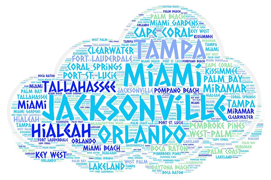 Jacksonville Photograph - Cloud Illustrated With Cities Of Florida State by Artpics