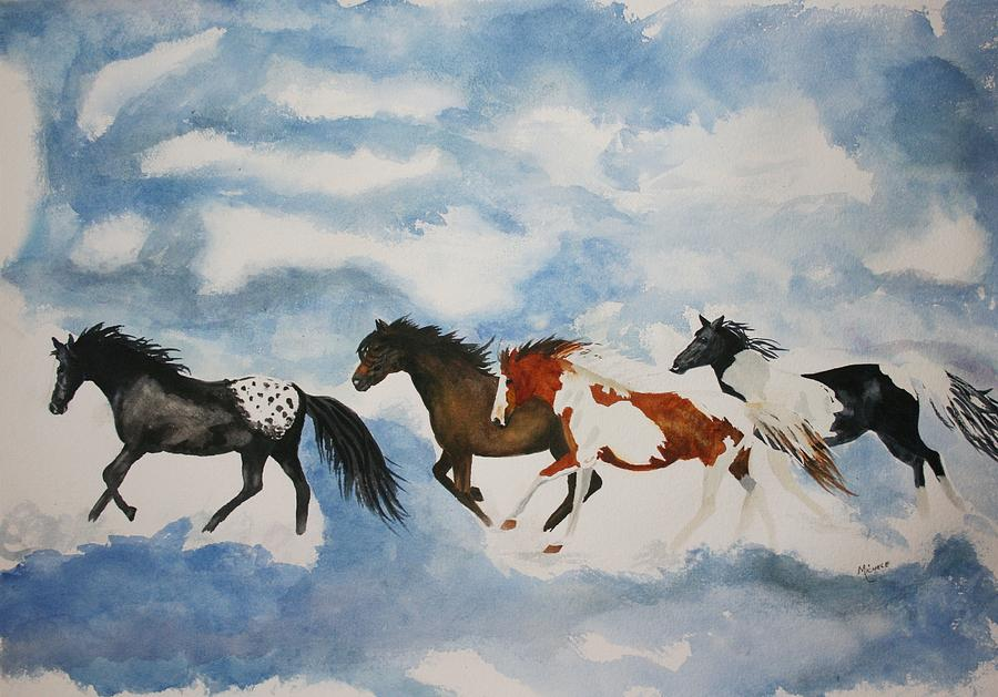 Horses Painting - Cloud Runners by Michele Turney