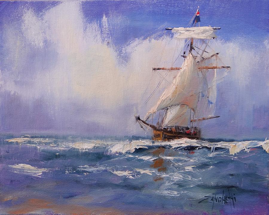 Sail Boat Painting - Cloud Study Demo by Laura Lee Zanghetti