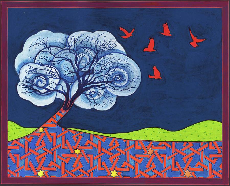 Shaman Painting - Cloud Tree 2 by Nicholas Breeze Wood