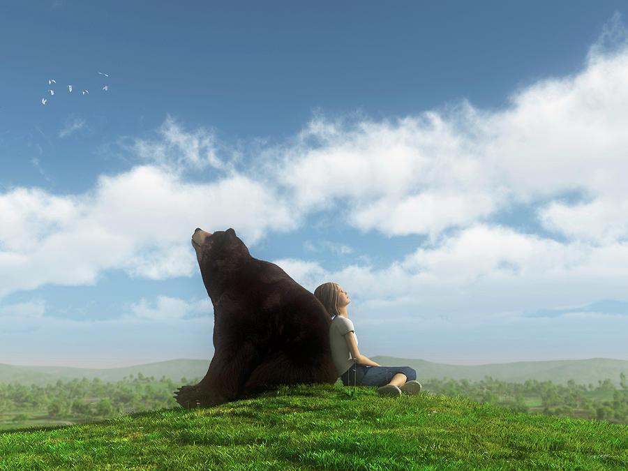 Bear Digital Art - Cloud Watchers by Cynthia Decker