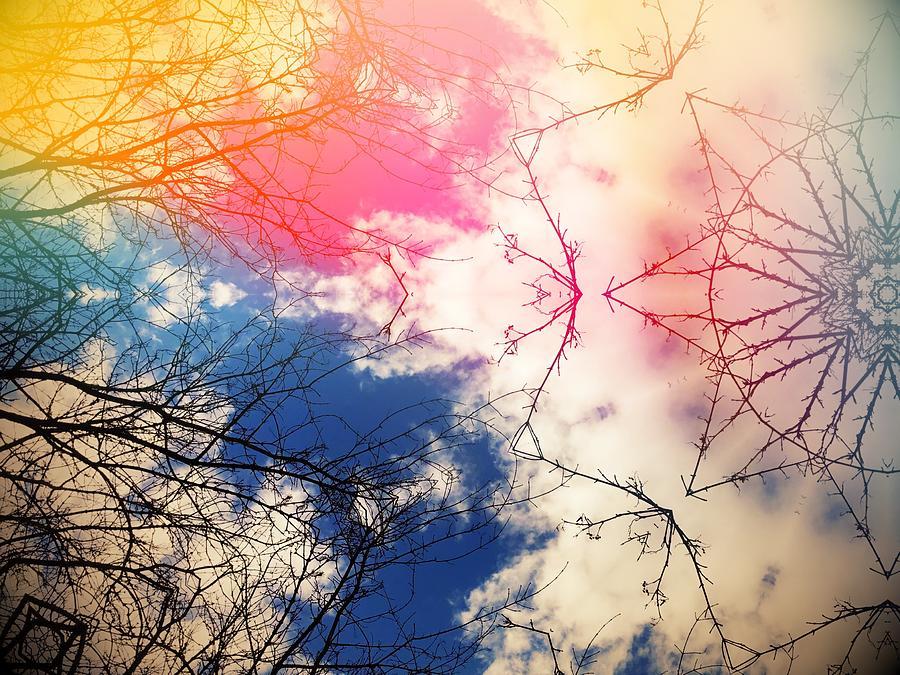 Colorful Digital Art - Cloudburst tree kaleidoscope by Itsonlythemoon