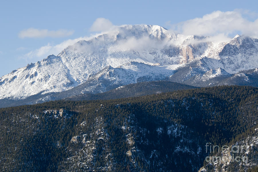 Clouds And  Snow On Pikes Peak Colorado Photograph