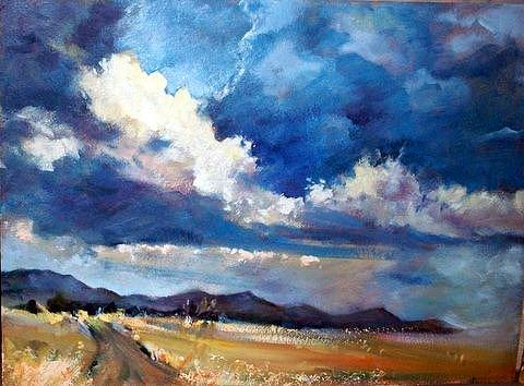 Landscape Painting - Clouds Are Gathering by Estelle Hartley