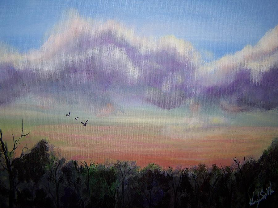 Clouds Painting - Clouds At Dusk by Wendy Smith