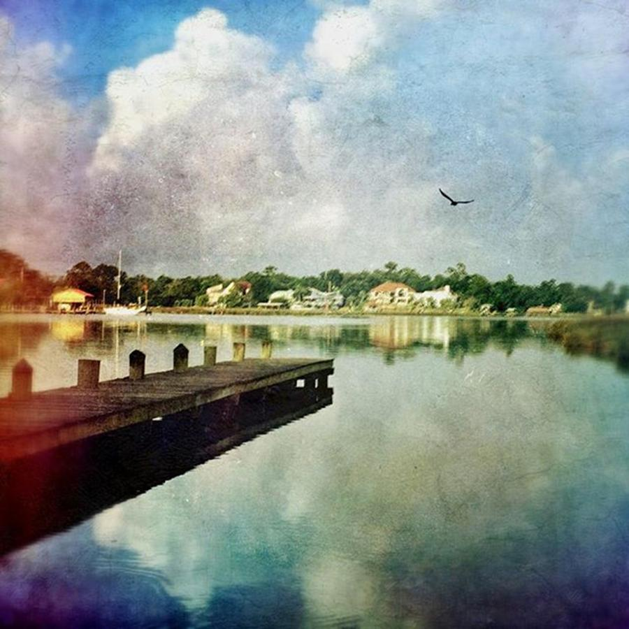 Reflections Photograph - Clouds Building #morningalongthebayou by Joan McCool