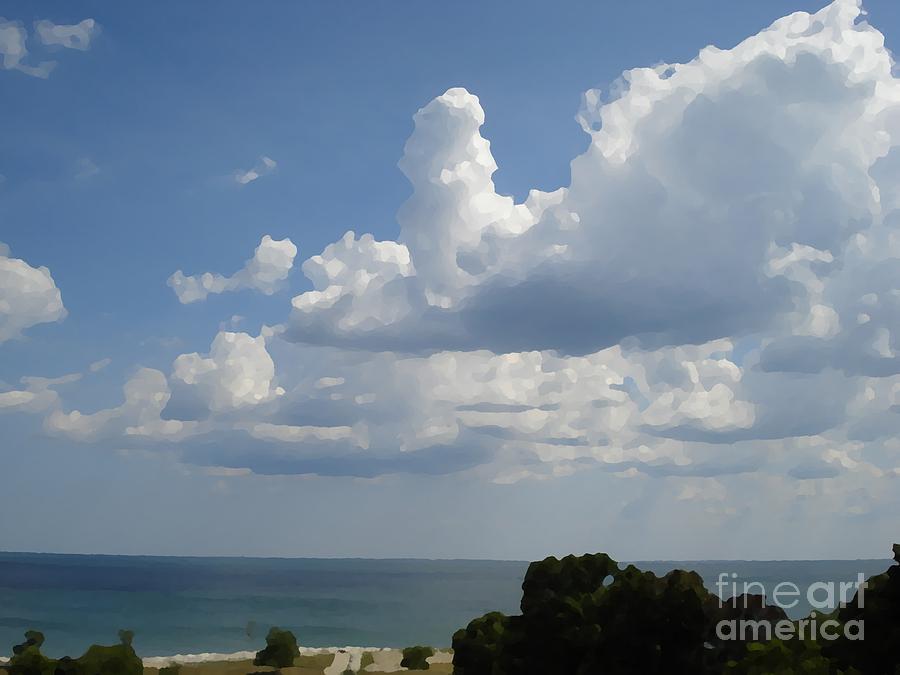 Landscape Digital Art - Clouds In August by John  Bichler